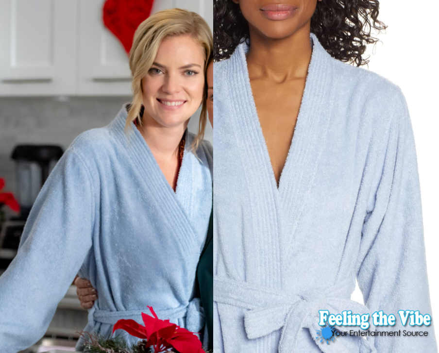Cindy Busby in blue robe from Godwink Christmas movie on Hallmark