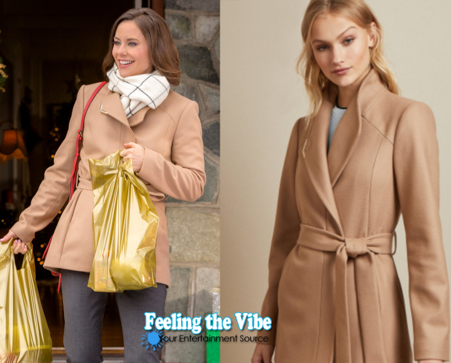 Ashley Williams (Peyton) taupe coat from Holiday Hearts