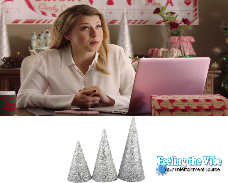 Jodie Sweetin's silver Christmas trees on desk Merry & Bright movie