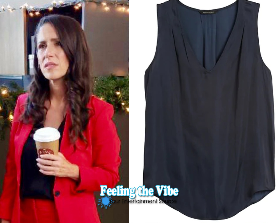 Black blouse on Soleil Moon Frye for Staging Christmas on Lifetime