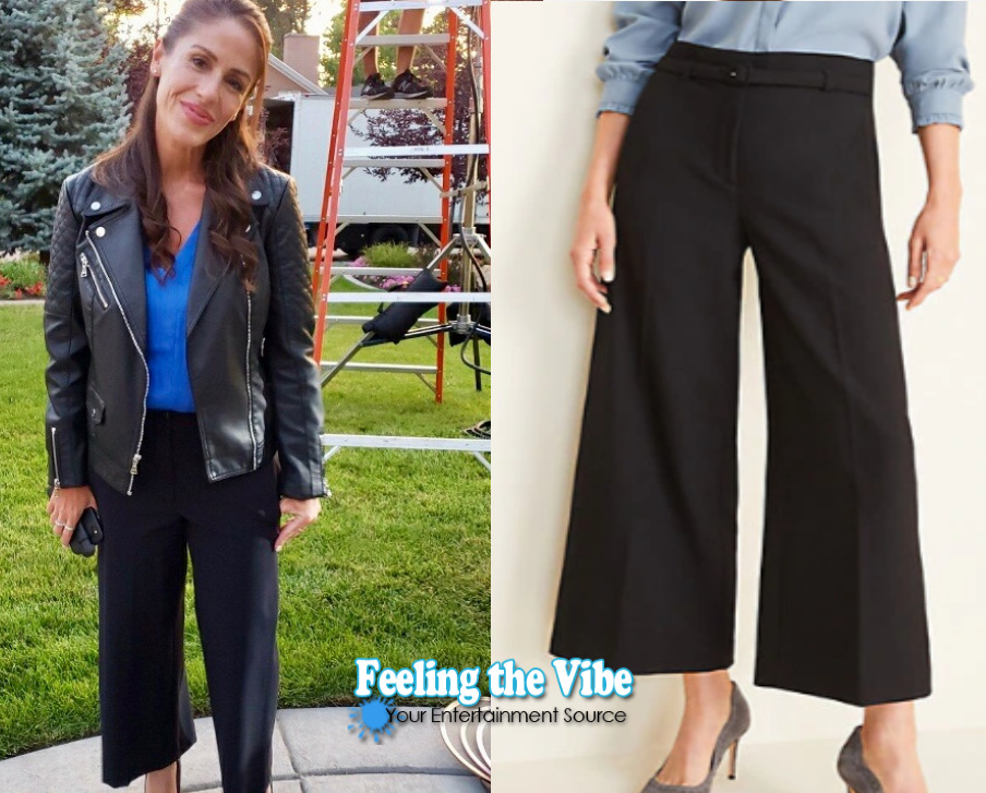 Wide leg black pant on Soleil Moon Frye from Staging Christmas