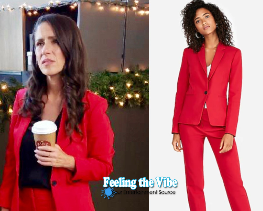 Soleil Moon Frye in red suit for Staging Christmas on Lifetime