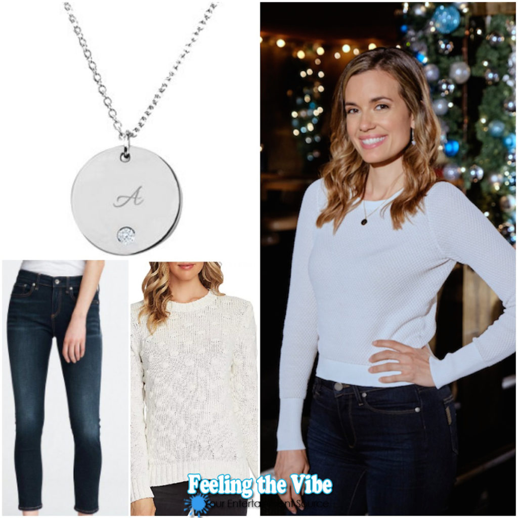 Torrey DeVitto White Sweater, Jeans, and Necklace