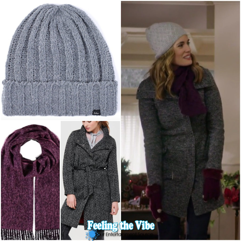 Torrey DeVitto gray coat, hat, and purple gloves