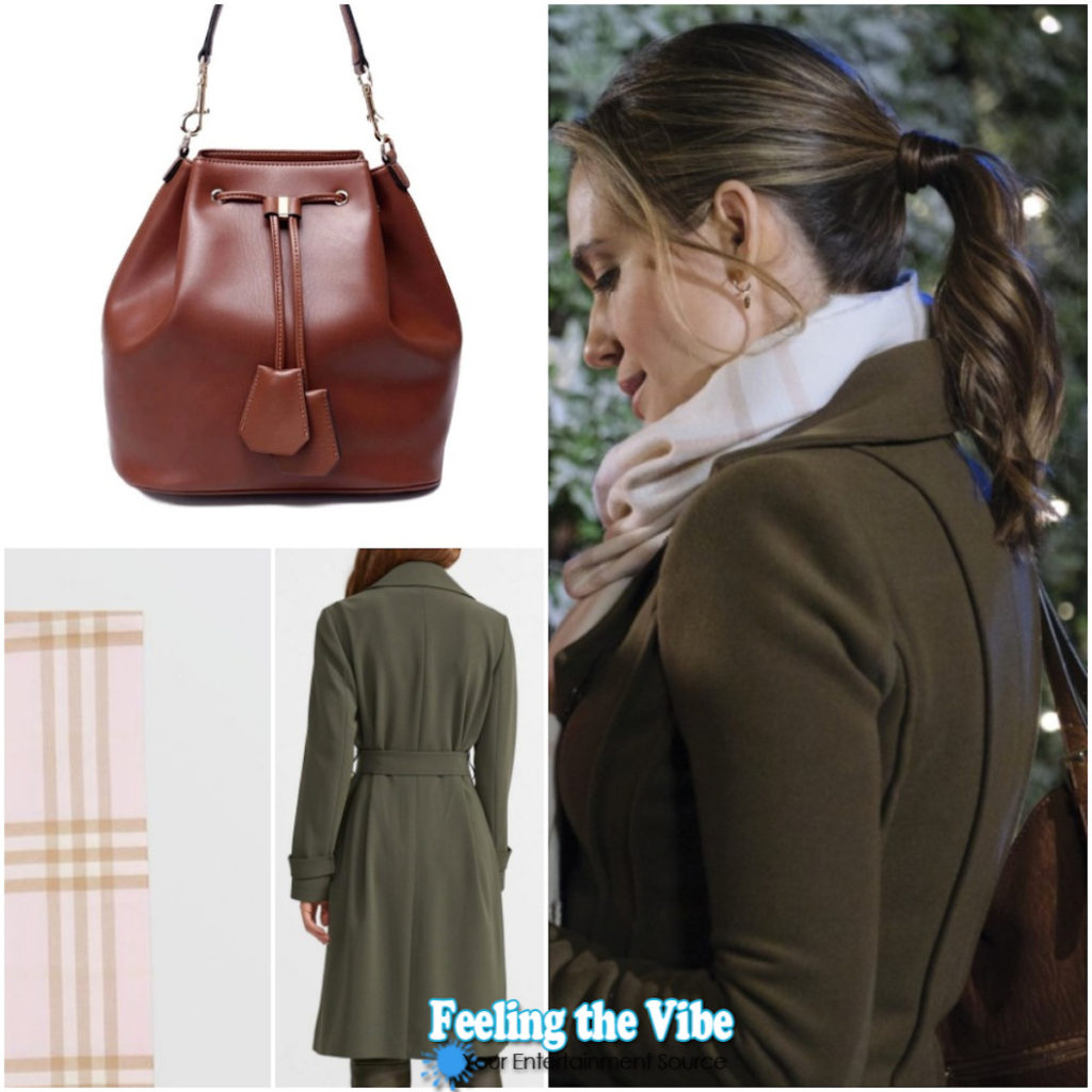 Green coat on Torrey DeVitto on Write Before Christmas on Hallmark Channel