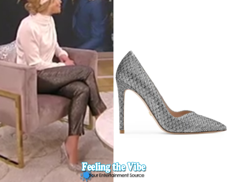 Candace Cameron wearing silver heels on the Tamron Hall Show