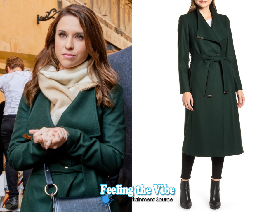 Lacey in dark green coat from Christmas in Rome