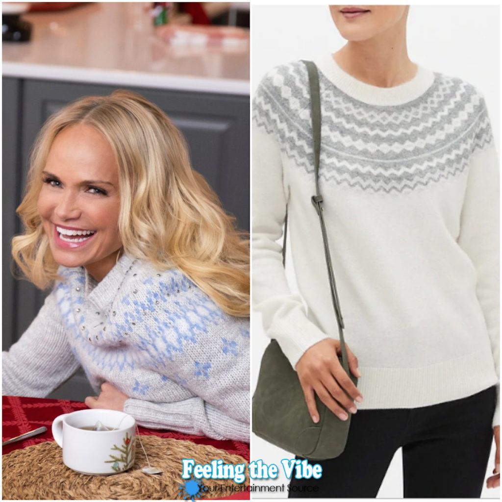 Silver and white fair isle sweater on Kristin Chenoweth in Christmas Love Story
