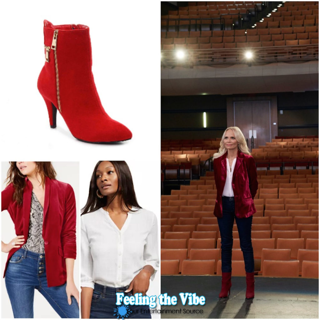 Kristin Chenoweth in red velvet blazer, white blouse, and red boots in Christmas Love Story movie