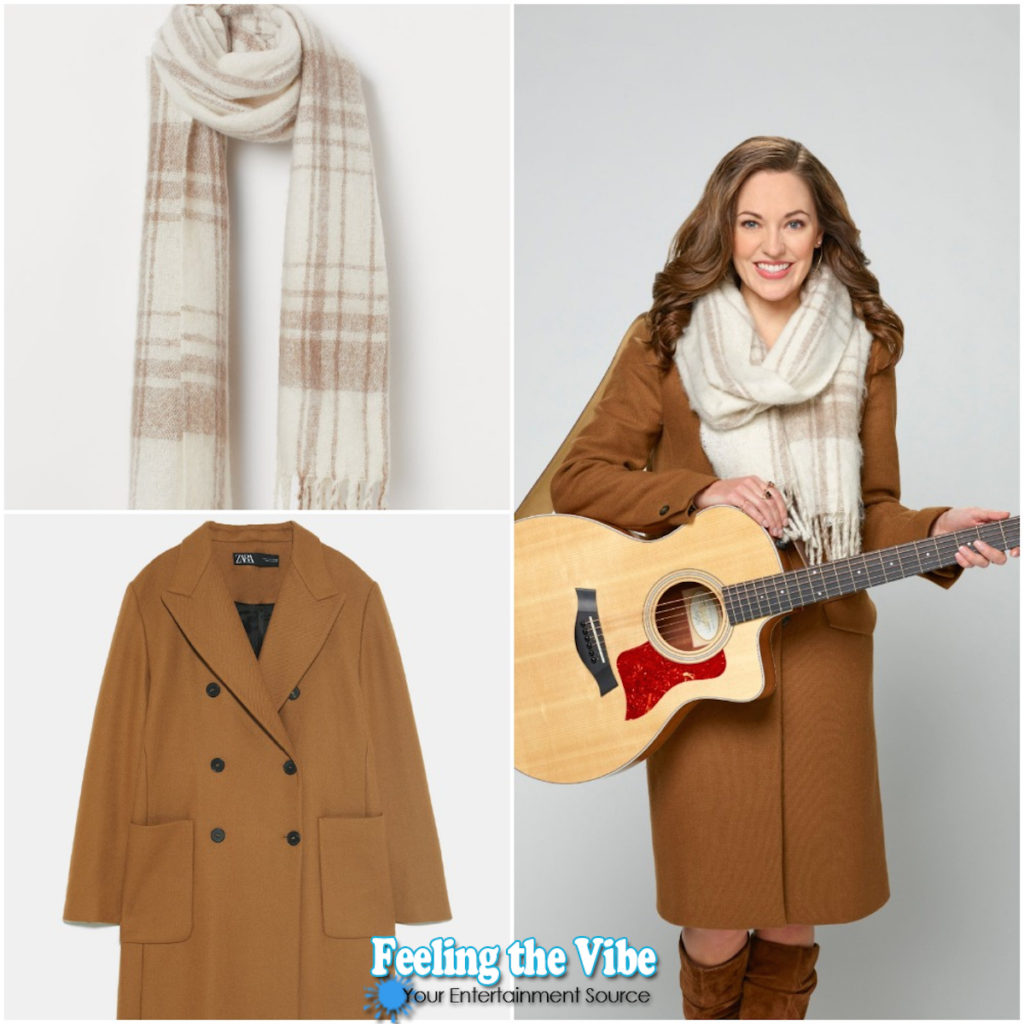 BROWN COAT, PLAID SCARF FROM 'A HOMECOMING FOR THE HOLIDAYS'