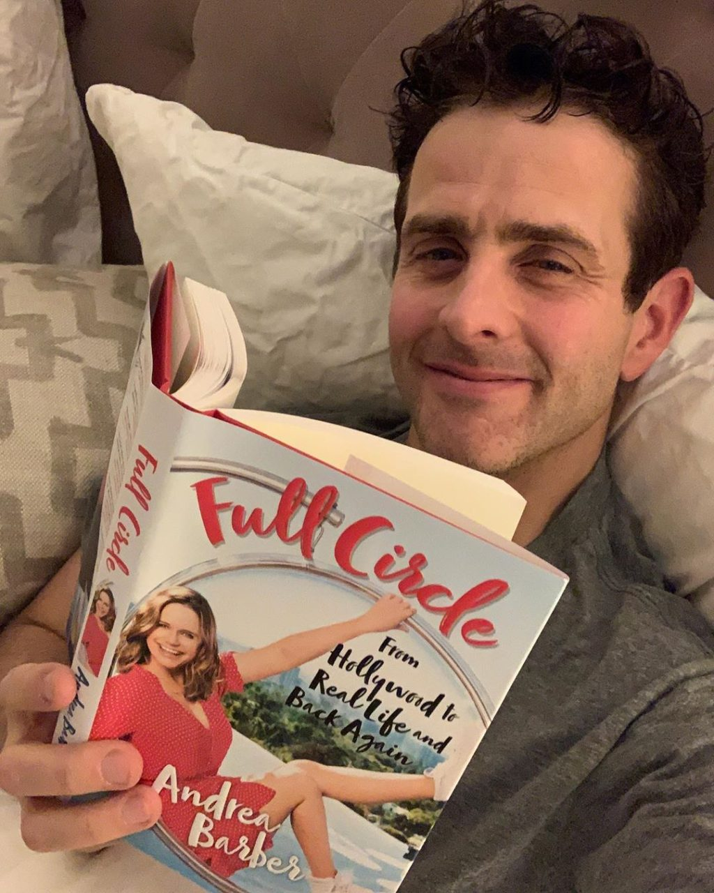Joey McIntyre reading Andrea Barber's new book