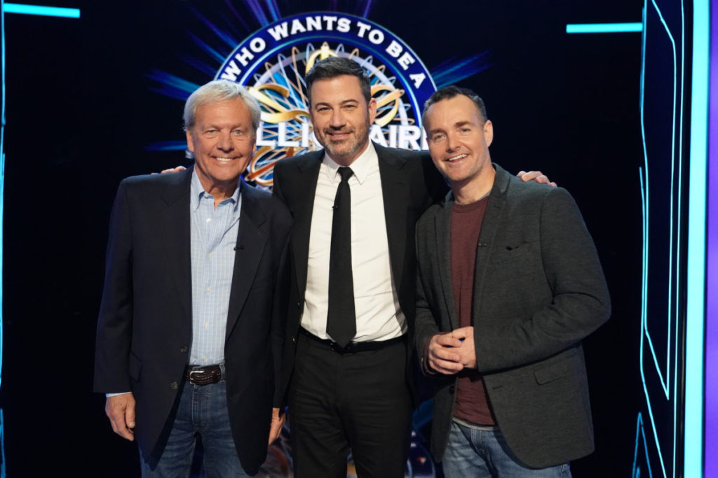 Reb Forte and Will Forte with Jimmy Kimmel on Who Wants to be a Millionaire