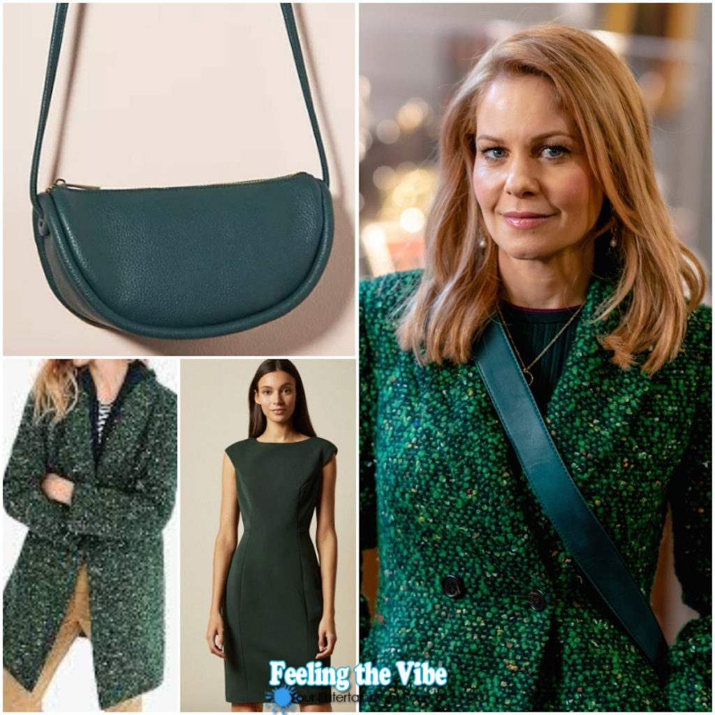 Candace Cameron Bure green jacket and dress from Aurora Heist and Seek