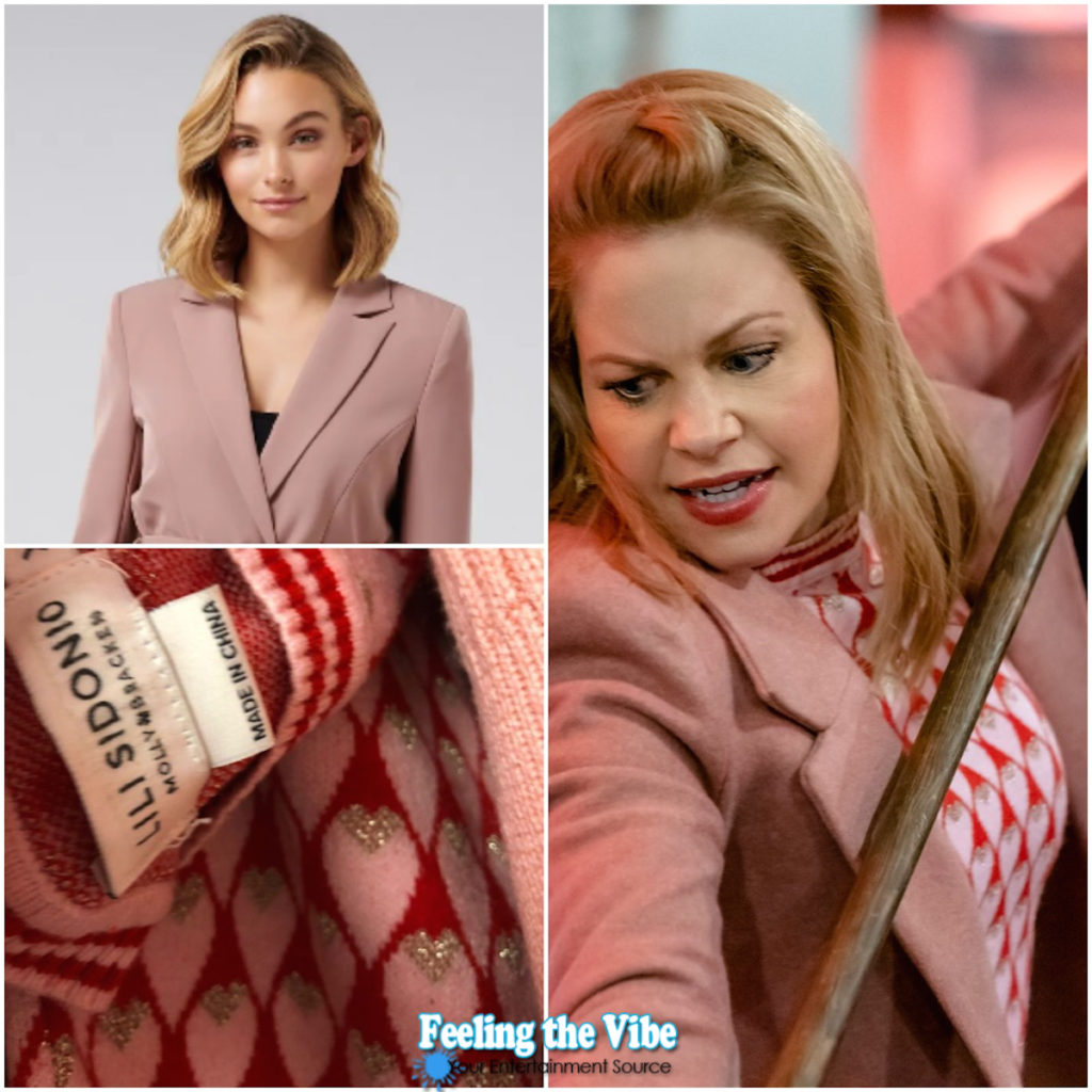 Candace Cameron pink coat and pink sweater in Aurora Heist and Seek