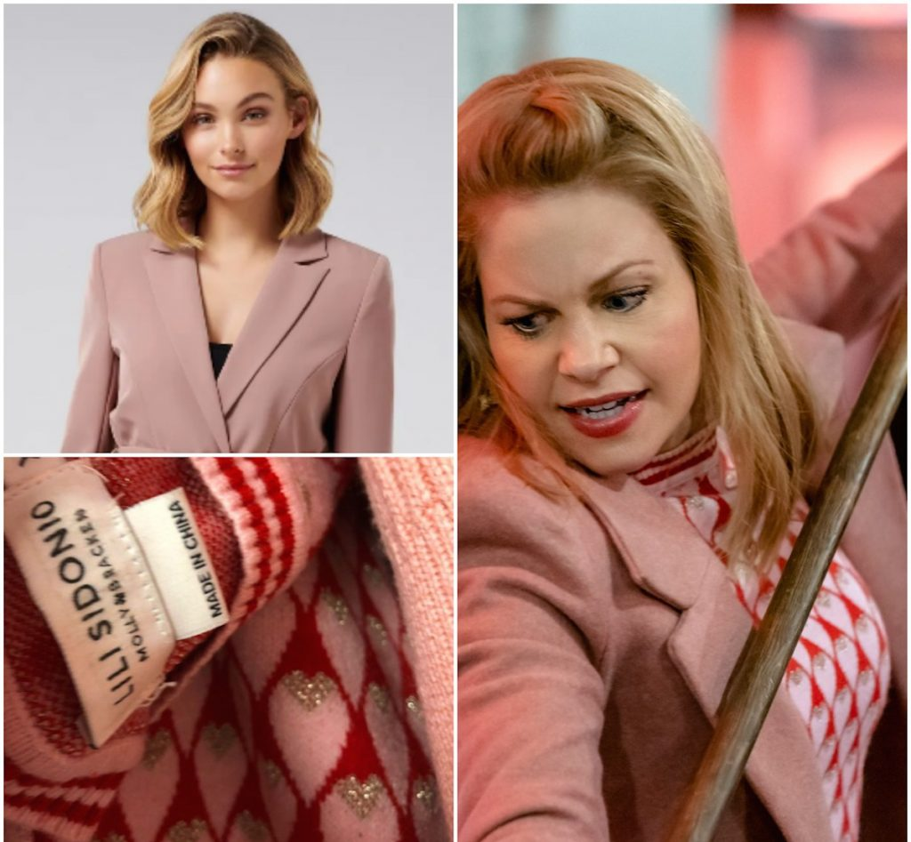Candace Cameron wears Pink Sweater and Coat on Aurora Teagarden Heist and Seek