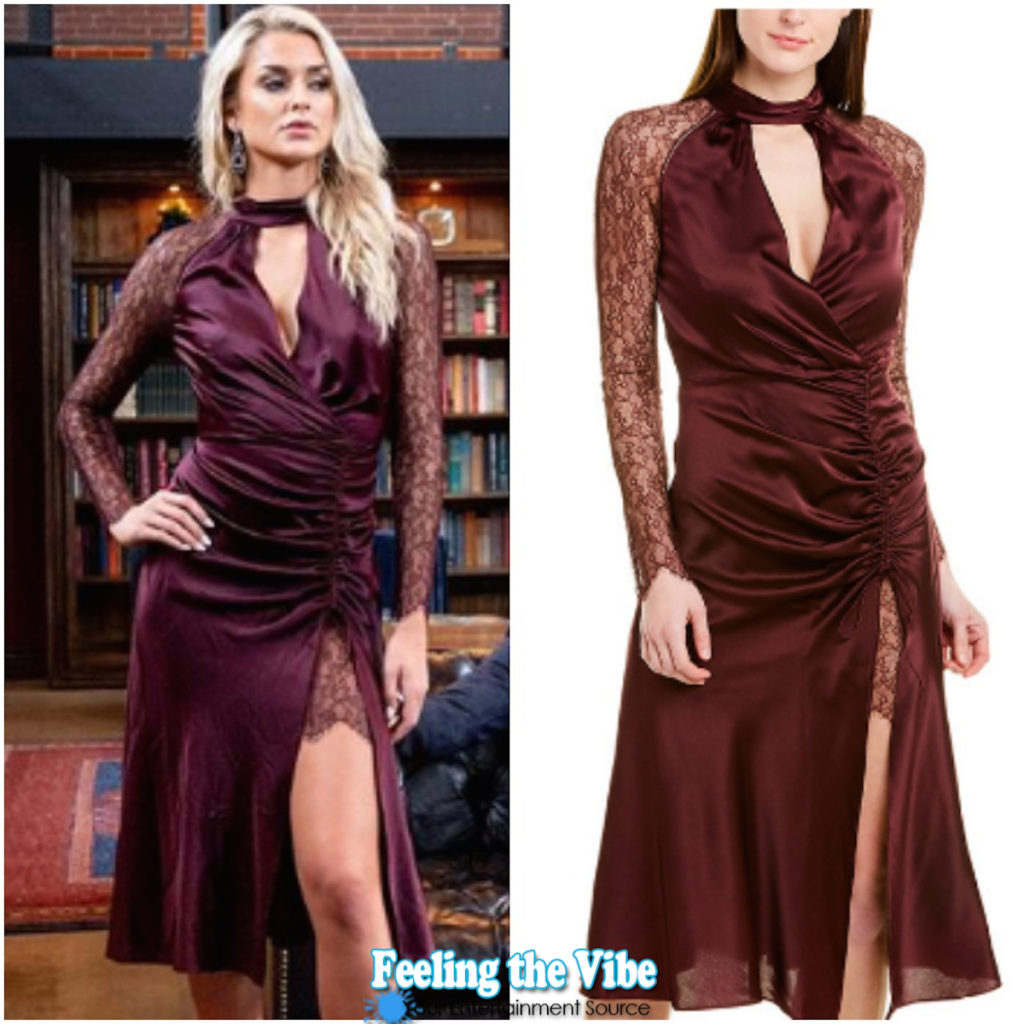Kelsey Owens burgundy lace gown