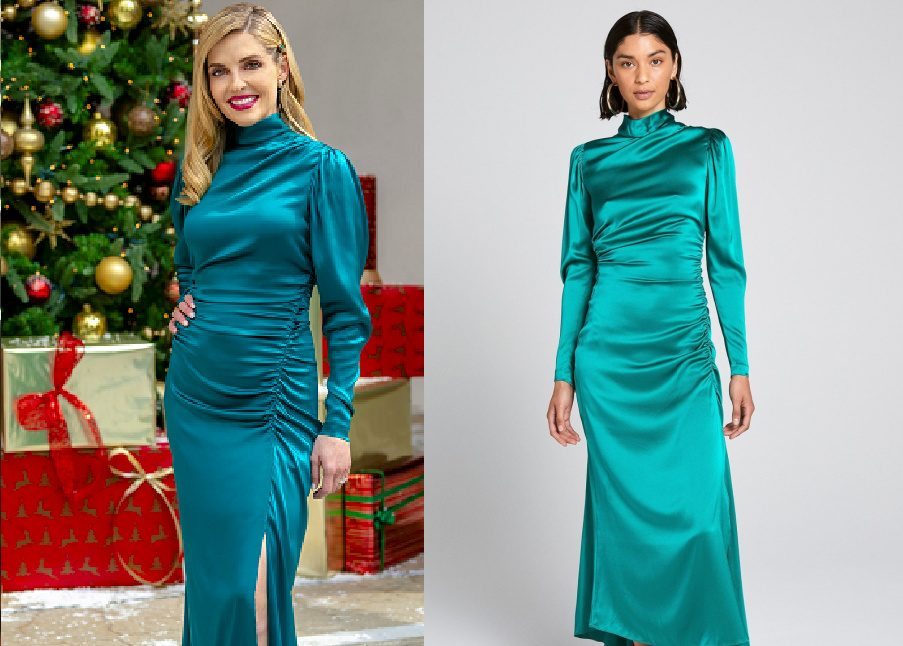 Jen Lilley in Blue Silk Dress 2020 Miracles of Christmas Special