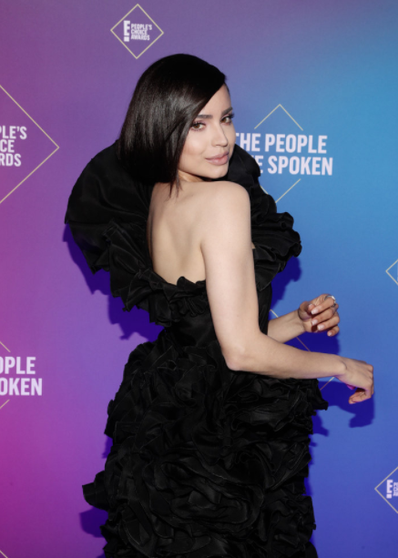 Sofia Carson Wears Black Ruffles on the 2020 People's Choice Awards Carpet