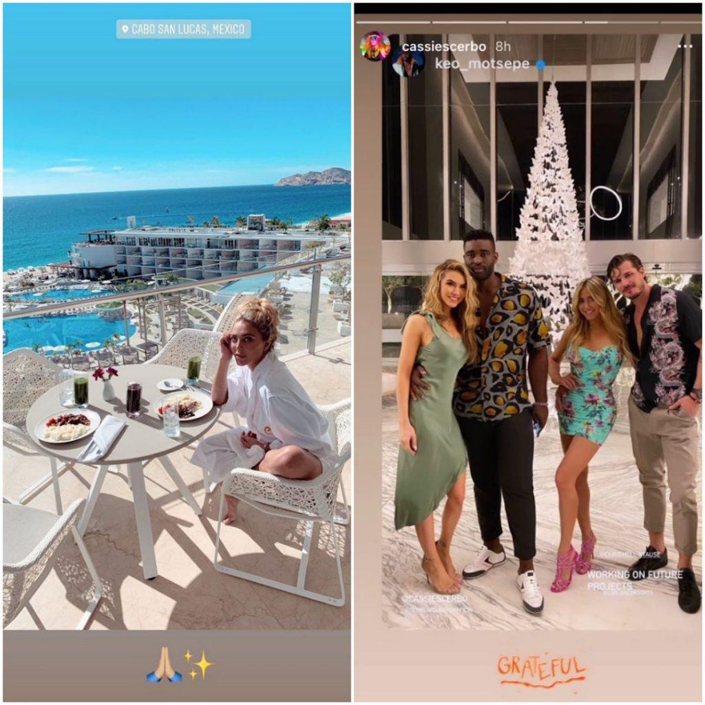 Cassie Scerbo's Instagram Stories featuring Gleb in Cabo.